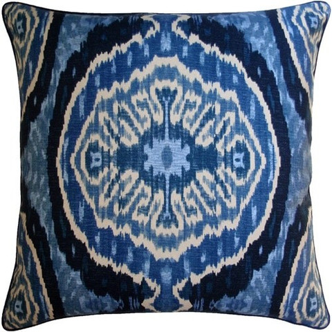 Masala Blue Ikate Throw Pillow Tonic Home