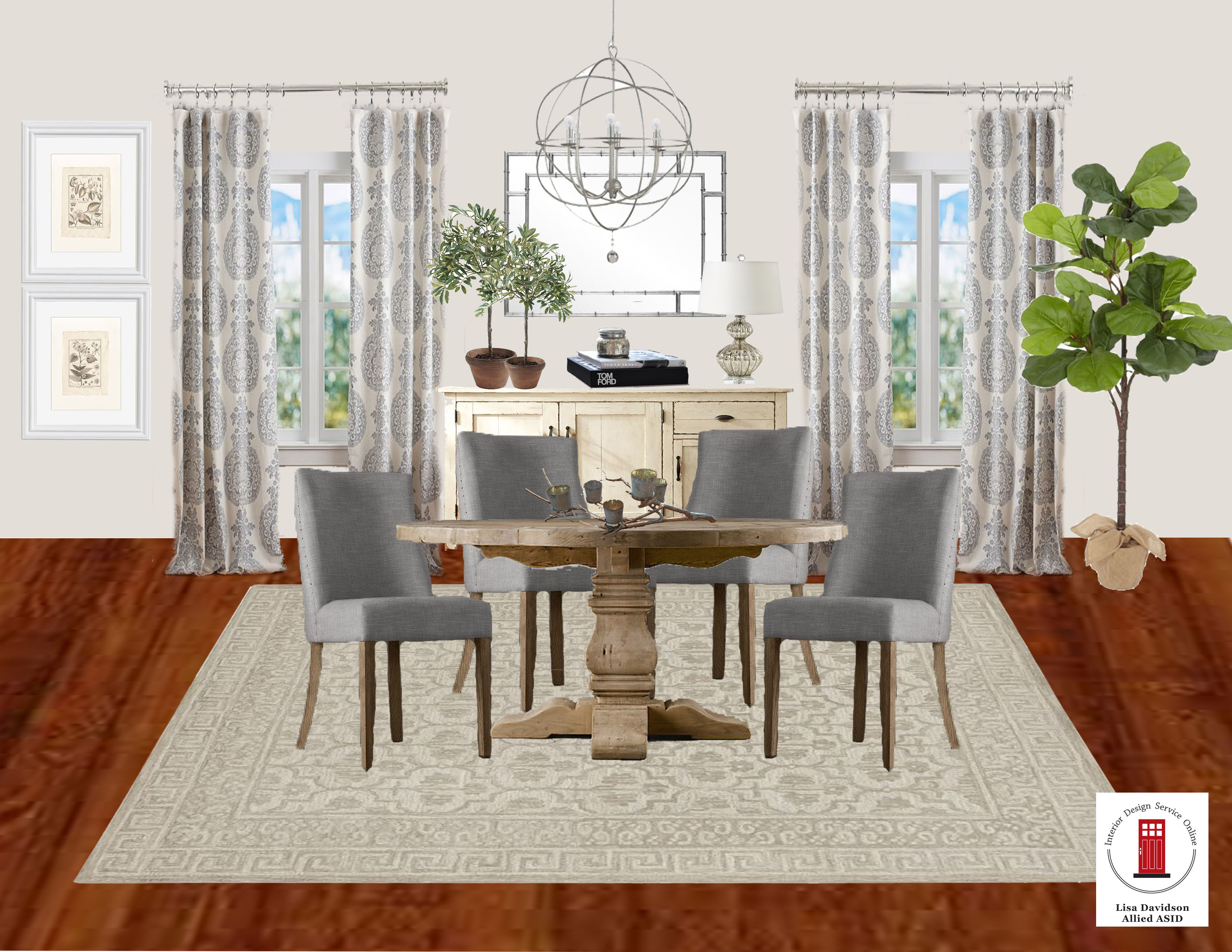 Transitional grey and cream dining room by interior design for Interior design services
