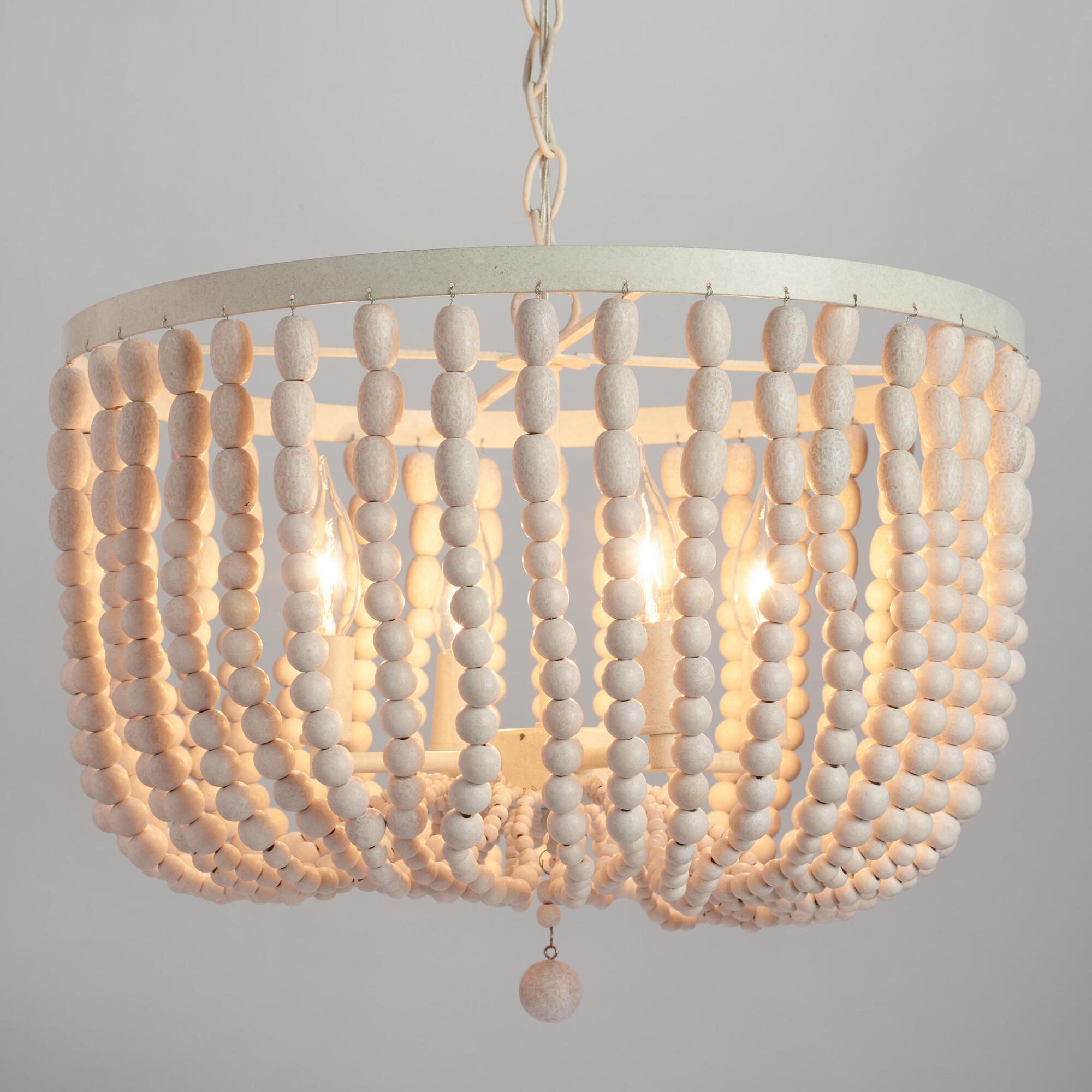 Hi low white beaded chandeliers interior design help online wm bead chandelier arubaitofo Image collections