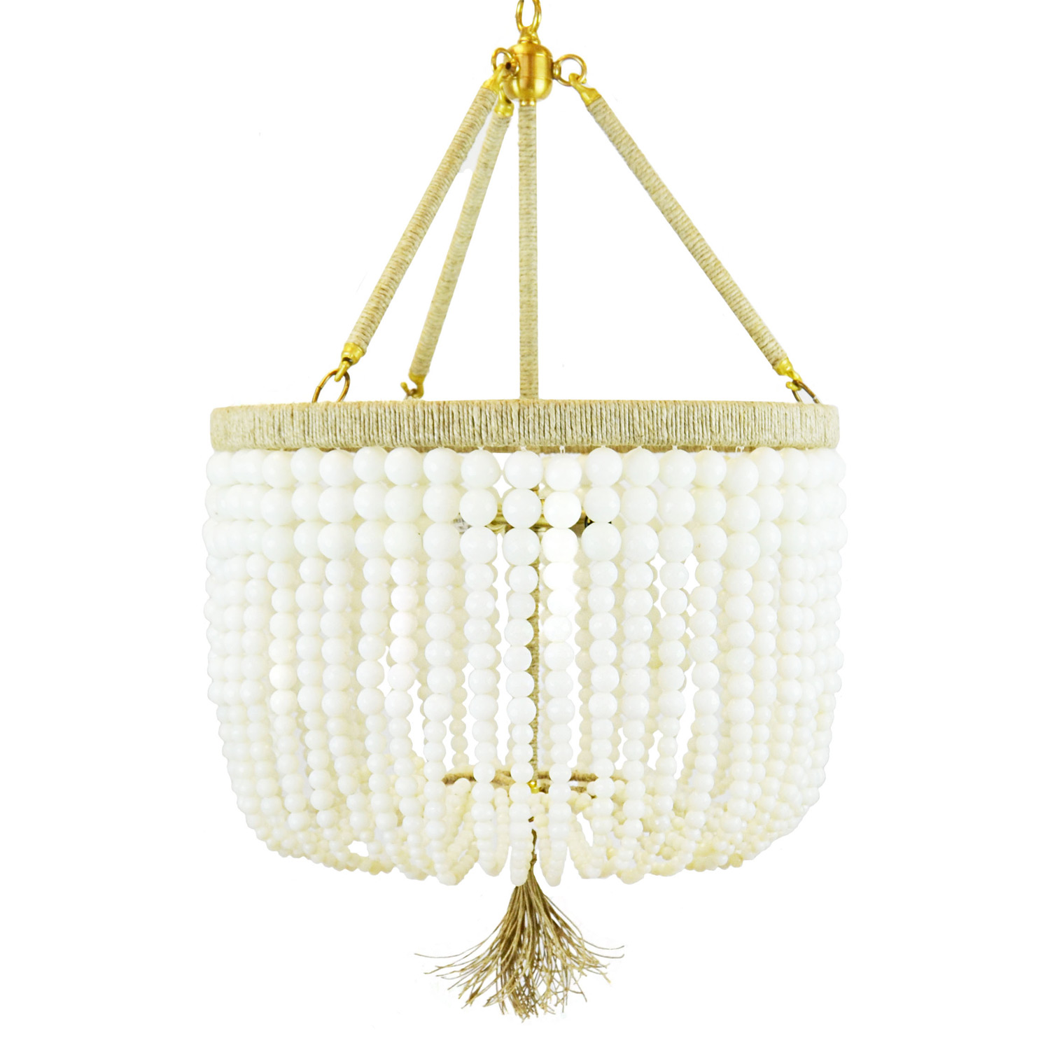 of tiered antique light shades chandelier beaded three wood products white bead