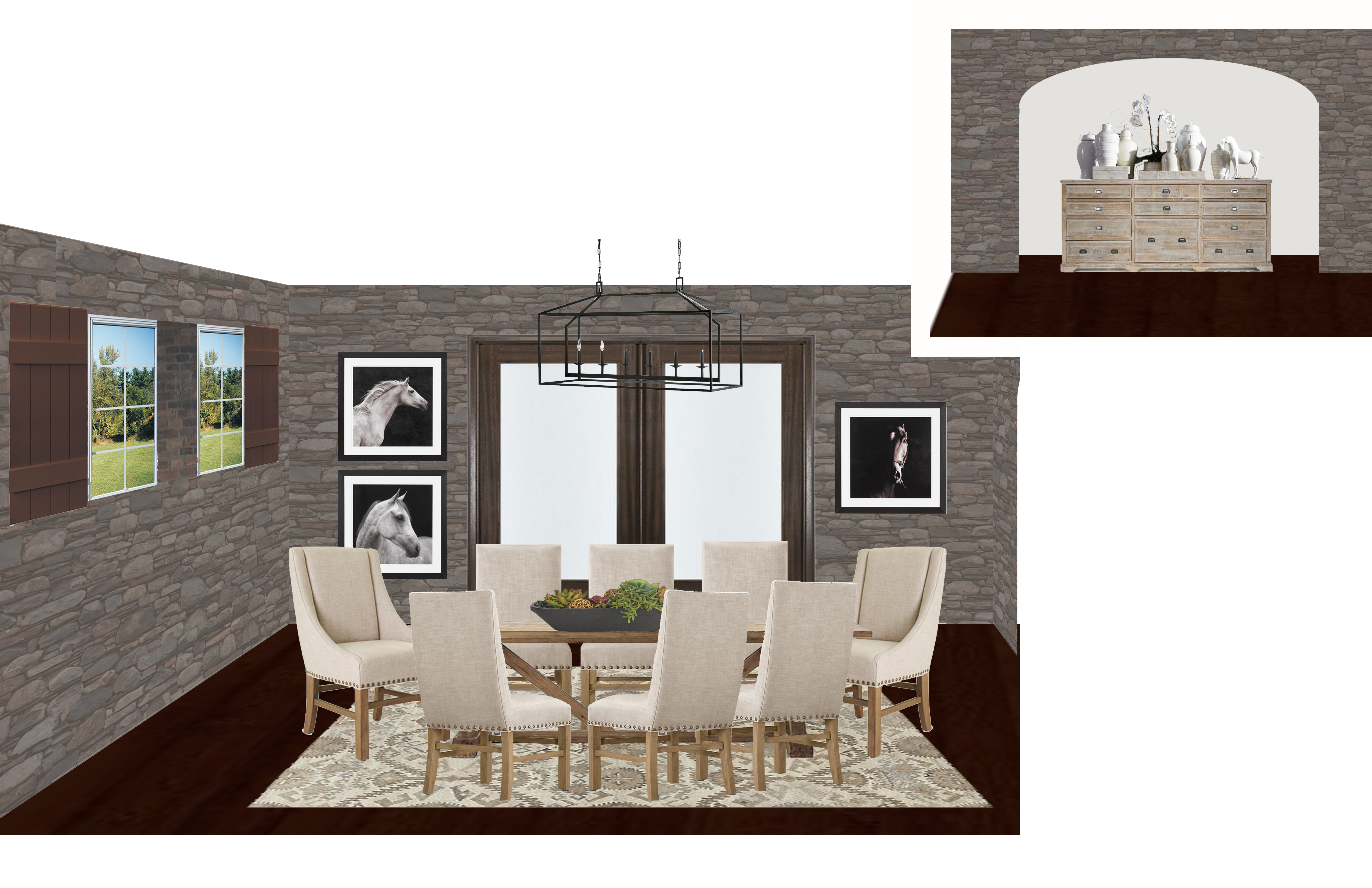 A california causal dining room virtual interior for Interior design services